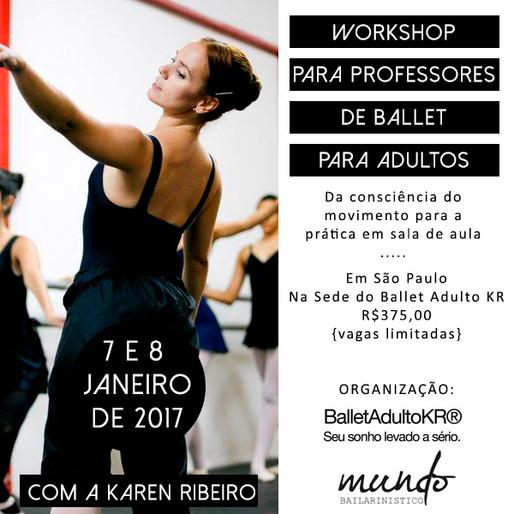 Workshop para professores de ballet para adultos