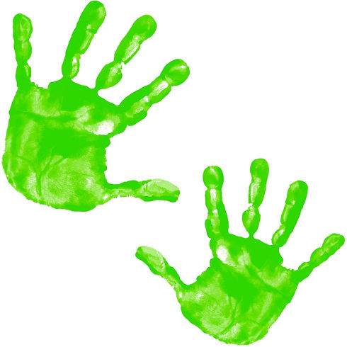 Two handprints, dipped in green paint, to show the lines in the fingerprints, our company logo
