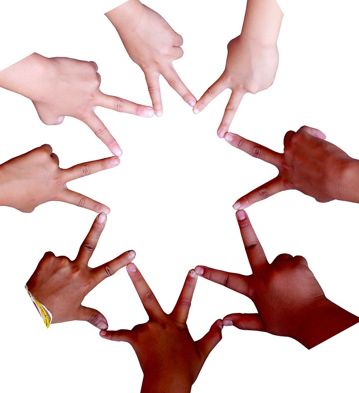 The hands of children all around the world, making symbols while organized in a circular fashion