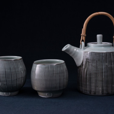 Cane Handled Porcelain Tea Pot Set