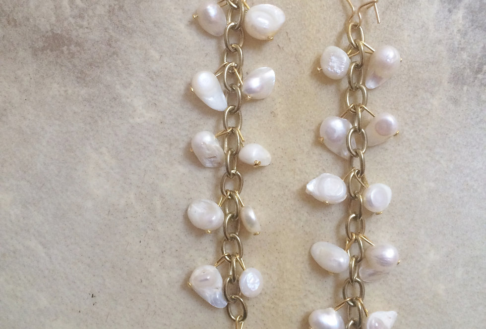 FRESHWATER PEARL - ISLAND EMPRESS CHAIN EARRINGS