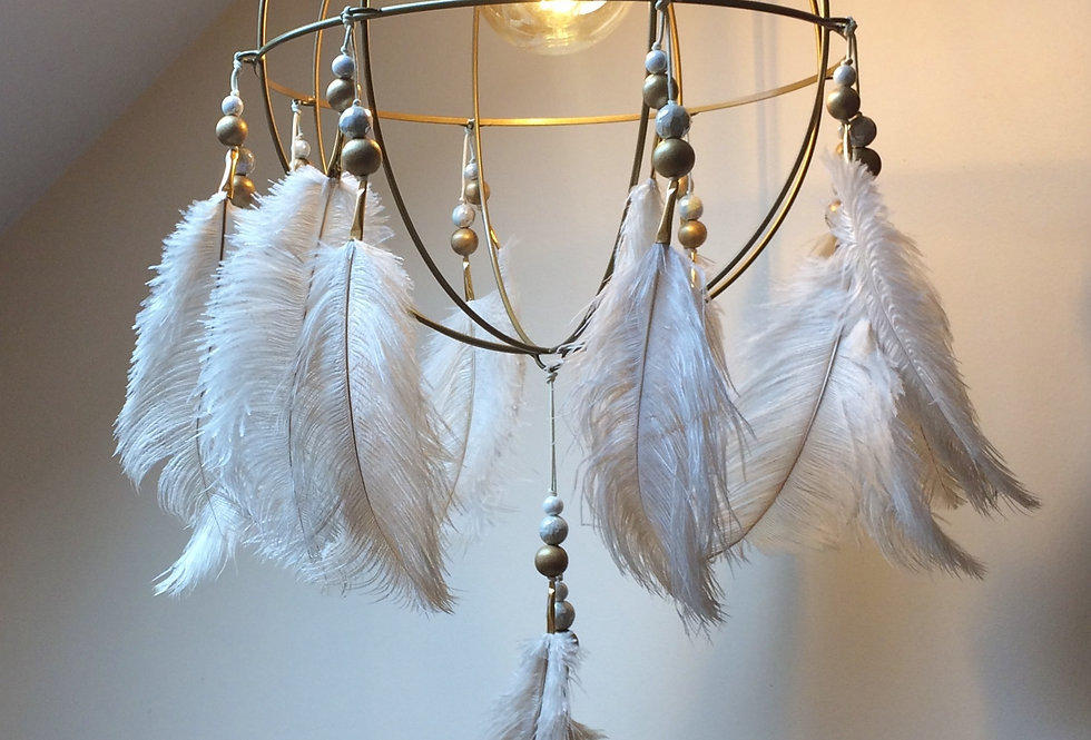 """FEATHER CHANDELIER   ISLAND EMPRESS ORB   CEILING MOUNT FIXTURE   GOLD   16""""Dia"""