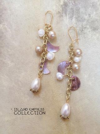 PEARL + MOON - ISLAND EMPRESS CHAIN EARRINGS