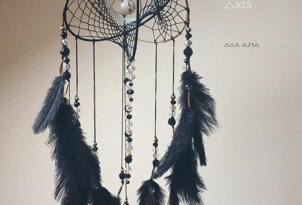 "CRYSTAL PRISM - DUALITY AXIS | DREAMCATCHER | BLACK + GOLD | 10""Dia"