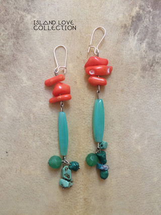 CORAL + TURQUOISE - ISLAND LOVE EARRINGS