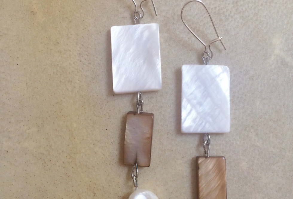 GEOMETRIC SHELL - ISLAND EMPRESS DANGLE EARRINGS