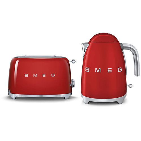 Smeg Kettle & 2 Slice Toaster Set, Red