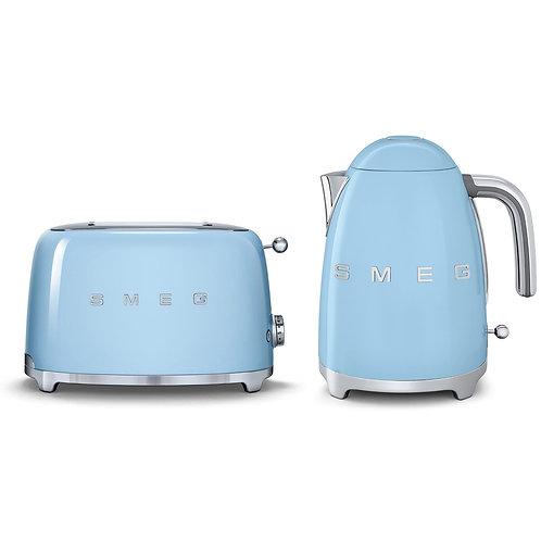 Smeg Kettle & 2 Slice Toaster Set, Pastel Blue