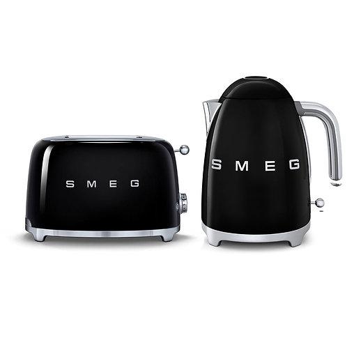 Smeg Kettle & 2 Slice Toaster Set, Black