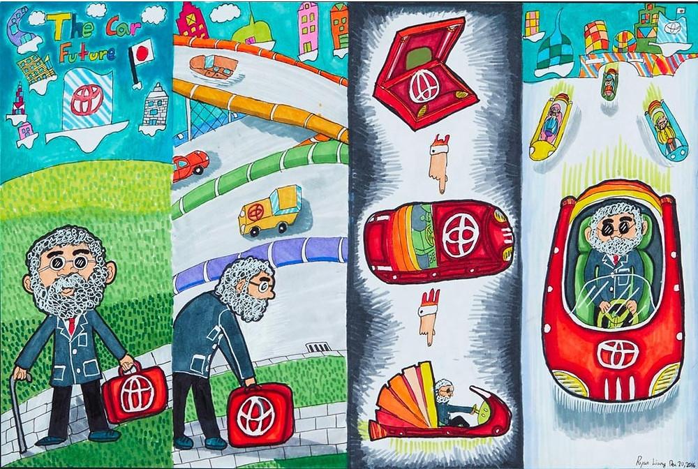 תחרות ציורי מכוניות העתיד לילדים של טויוטה 2