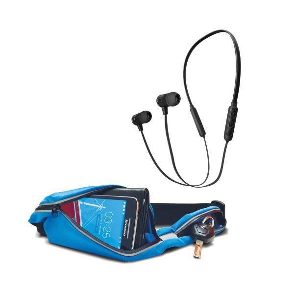 אוזניות ספורט עם קשת צוואר ומיקרופון מובנה+רצועת ספורט אלסטית אטומה למים