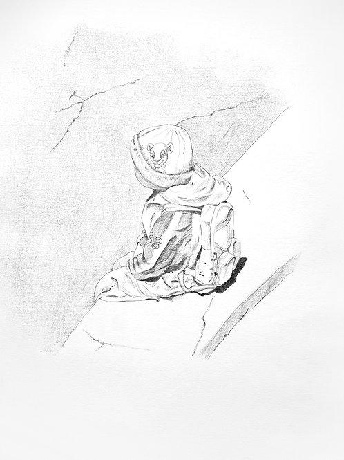 dessin mine carbone, enfant au bord d'une falaise, escalade, sac à dos et bonnet