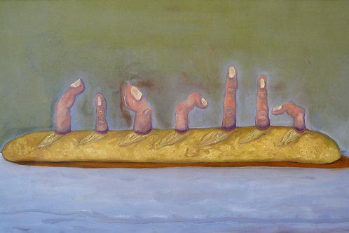 peinture baguette de pain avec doigts