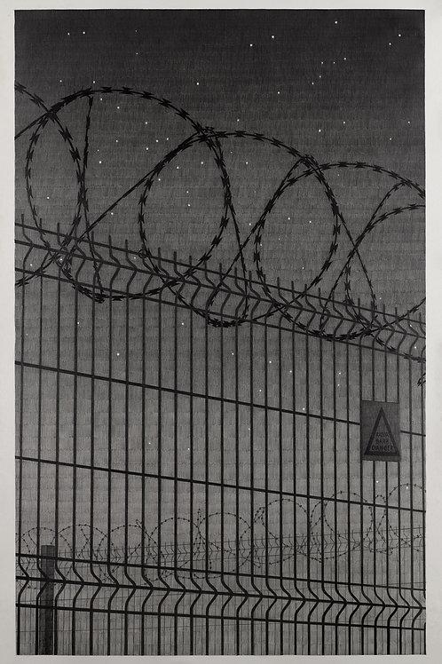 dessin au crayon à papier grand format, mur de barbelés, grillage pour réfugiés