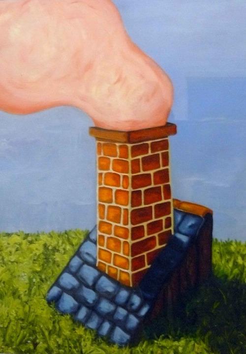 peinture toit maison avec cheminée