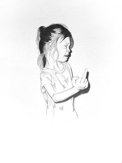 dessin mine carbone enfant doigt d'honneur