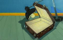 peinture étrange valise et lampe