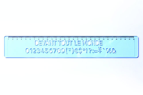 règle à lettre en plexiglass fluo