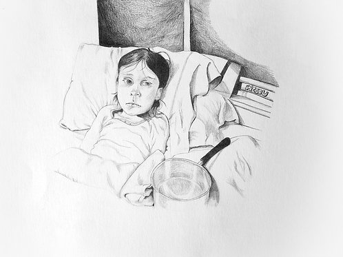 dessin mine carbone enfant triste au lit