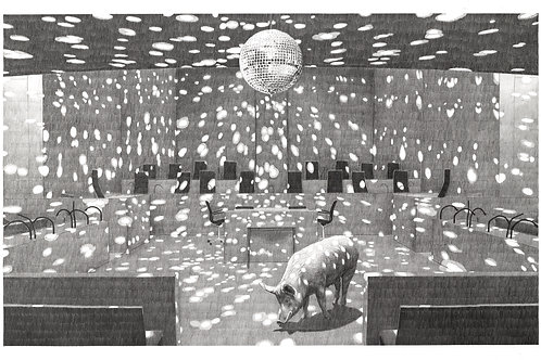 dessin au crayon à papier grand format, cochon dans salle de congrès transformé en dancefloor, boule à facettes