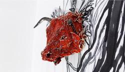 tête de taureau, sculpture céramique