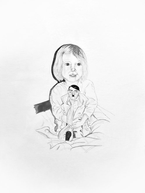 dessin mine carbone, enfant avec poupée Hitler