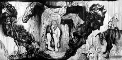 gravure murale, homme dans caverne
