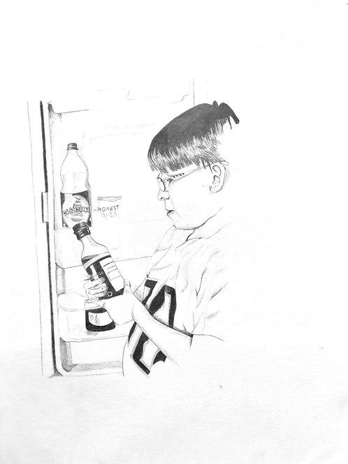 dessin mine carbone, enfant, obésité, malbouffe, boisson gazeuze