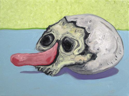 peinture de crâne avec nez de Pinocchio