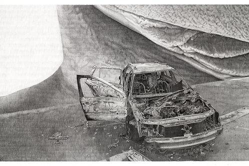 dessin au crayon à papier grand format, carcasse de voiture