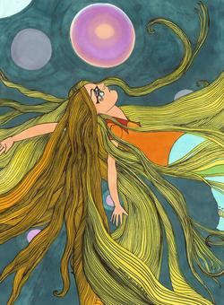 feutre, fille cheveux long princesse