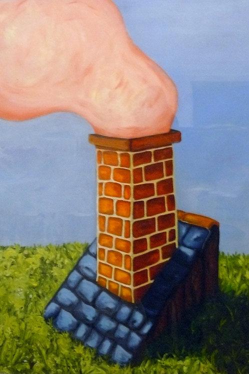 peinture maison avec cheminée qui fume