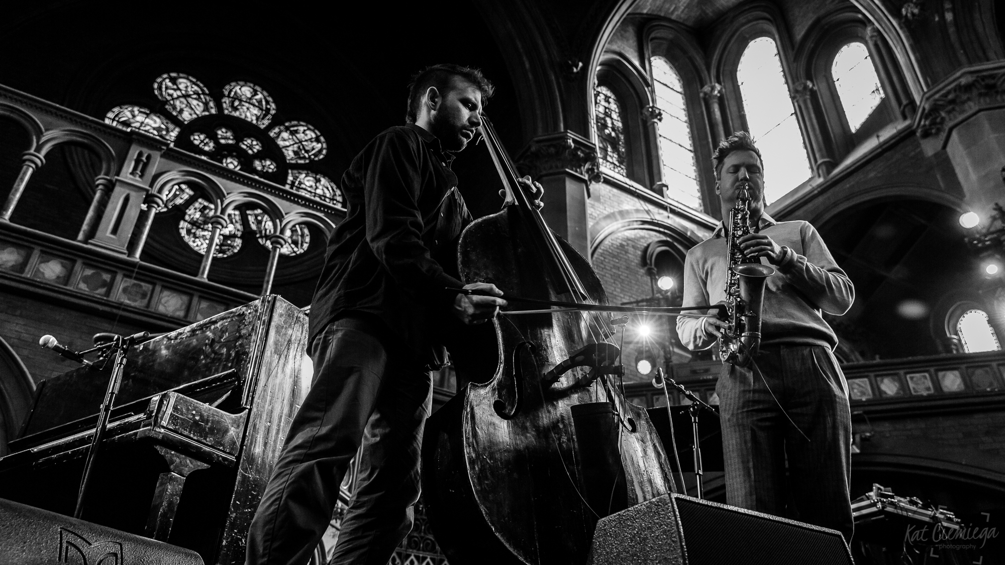 Kat Ciemiega Photography, Daylight Music, Guido Spannocchi, Thodoris Ziarkas, concert photographer, event photographer, live music, photographer London, music London, saxophone, double bass