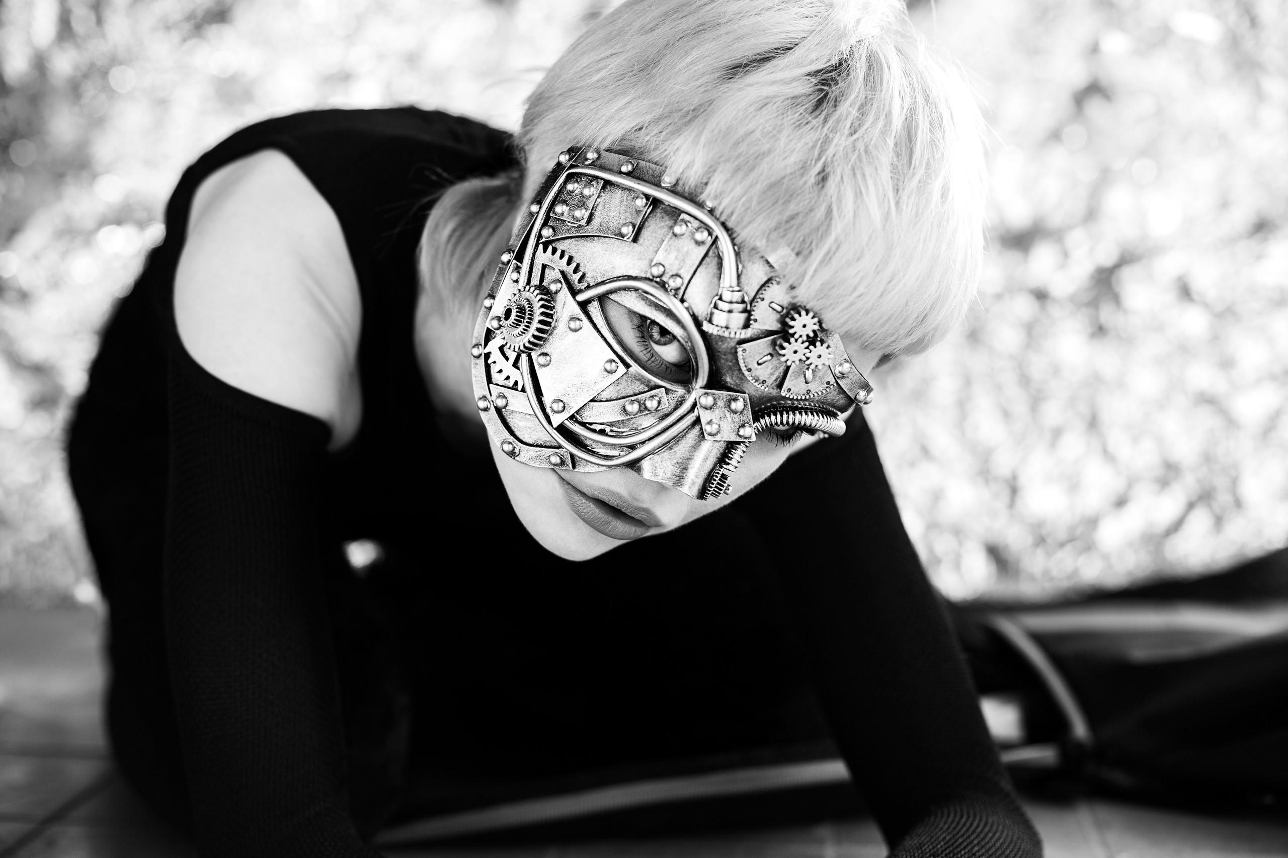 Kat Ciemiega Photography, black and white, portrait, steam punk