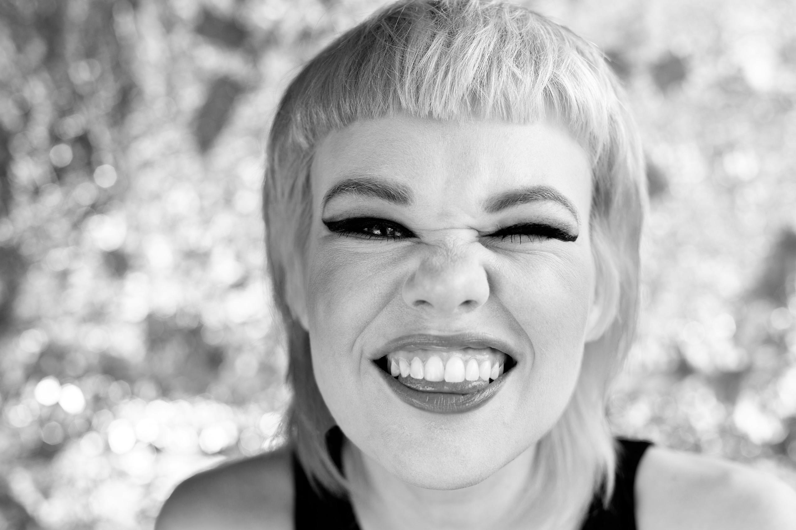 Kat Ciemiega Photography, black and white, portrait, smile, positive