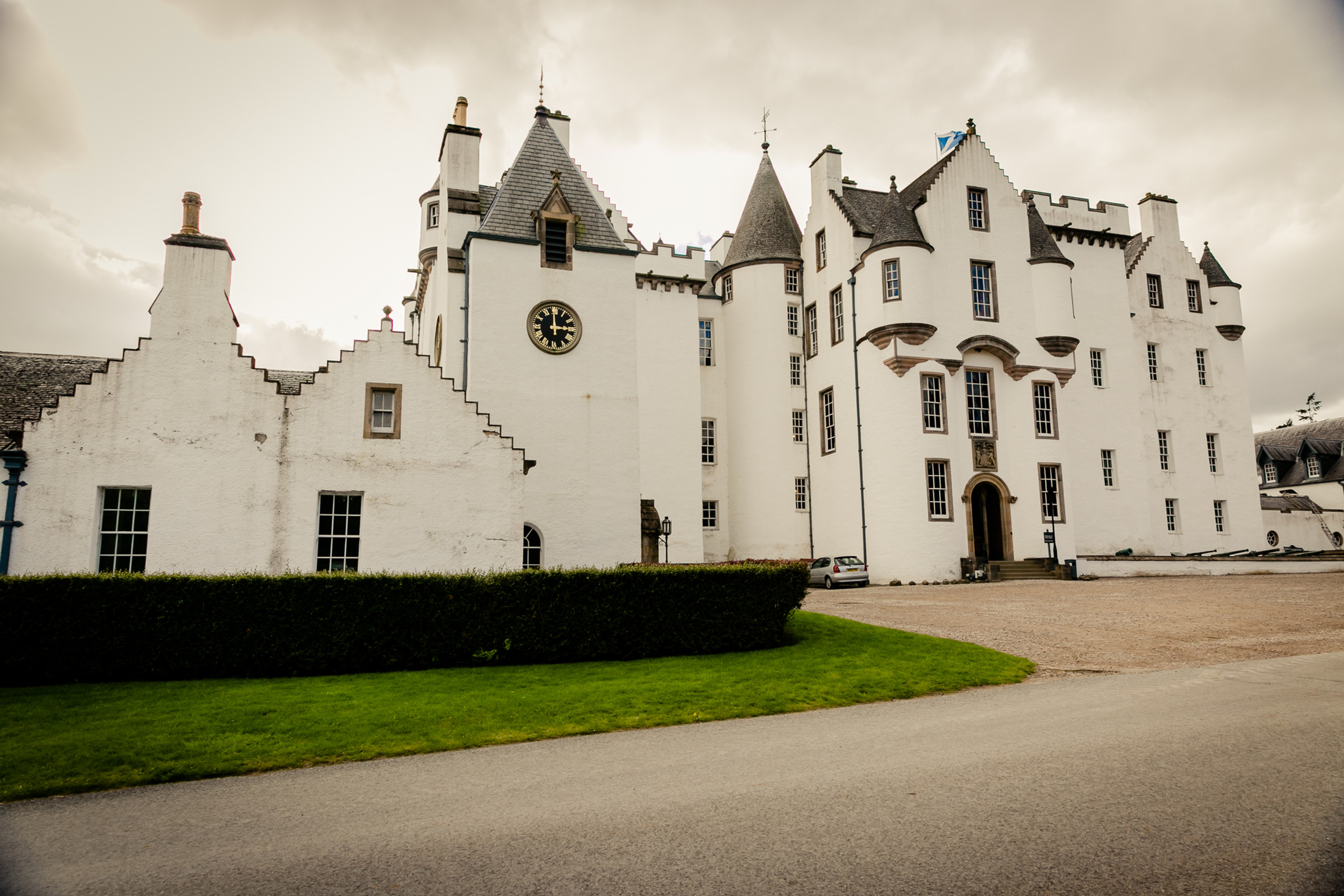 The Blair Castle in Scottish Highlands. Scotland, landscapes, castle
