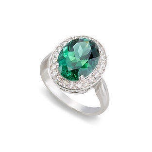 Emerald and Diamond Ring Photographed on White