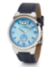 Mens blue crystal watch with leather band.
