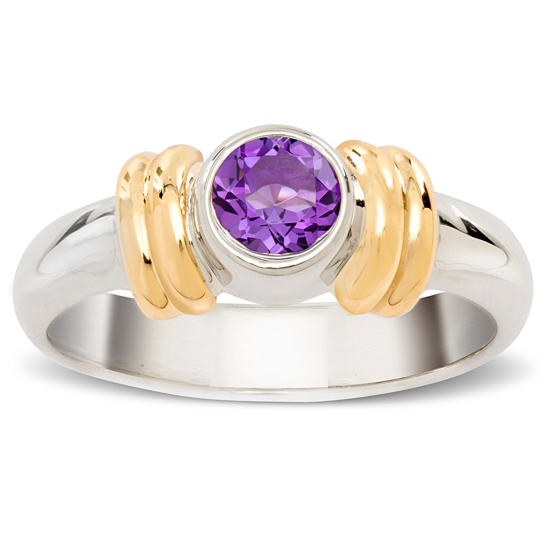 Gold Silver Birthstone Ring
