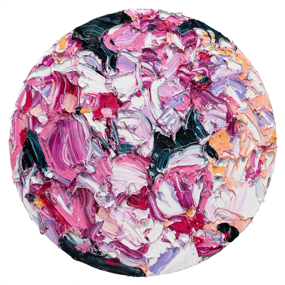 Alesandro Ljubicic Madder Fusia Bloom, 2017 Oil on linen on birch 120 cm diameter