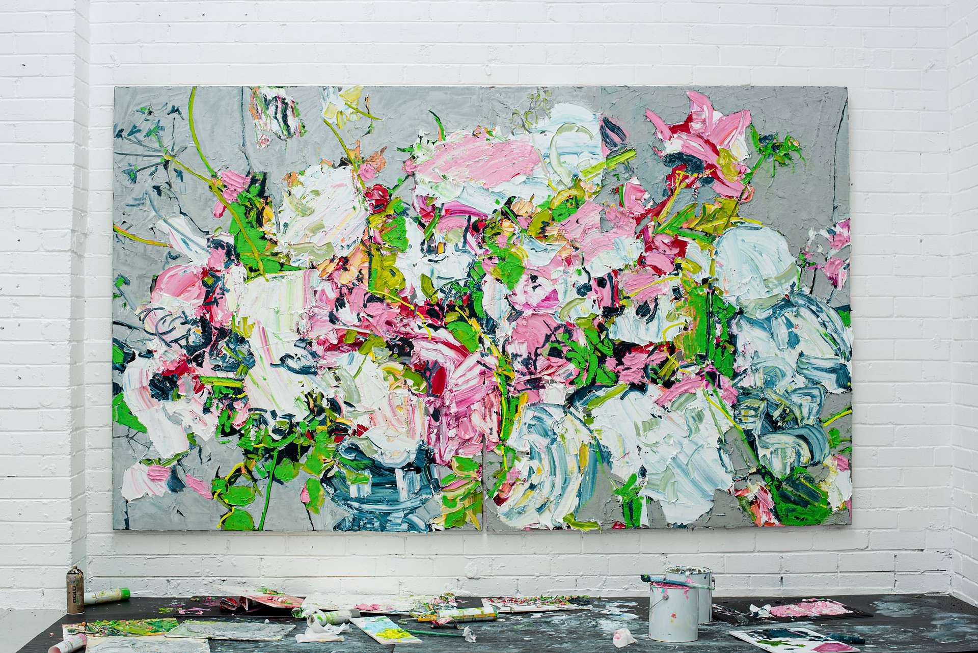 Embrace the glorious mess that you are 180.00 x 300.00 cm (overall, diptych) Oil on linen over Dibond