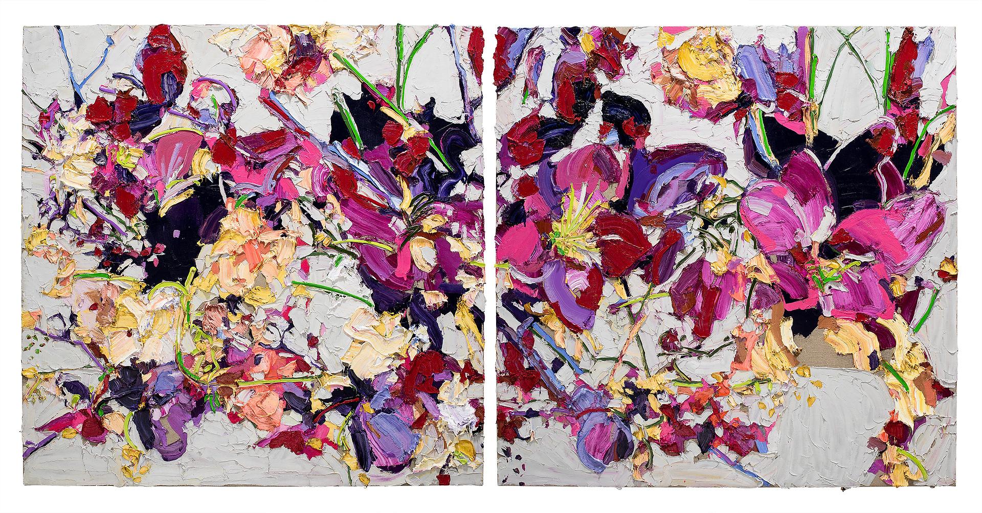 Alesandro Ljubicic Cyclamen Cherron Rose, 2017 Oil on linen on DiBond, iptych 150 x 300 cm