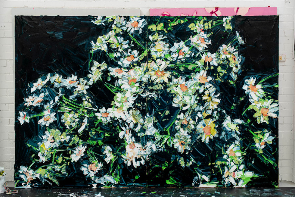 Painting these flowers in a huge scale, the beauty cannot be ignored 200.00 x 306.00 cm (overall, diptych) Oil on linen