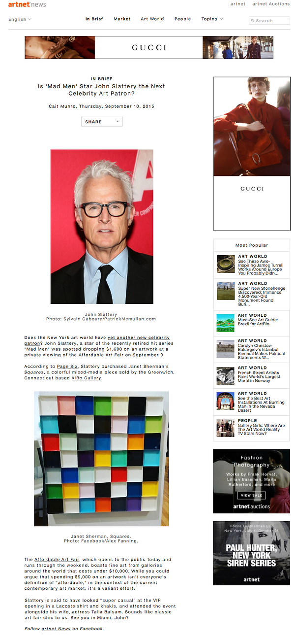 Artnet News  'Mad Men' star John Slattery purchases artwork from Portland-based artist Janet Sherman at theAffordable Art Fair 2015 Fall edition, represented by Aibo Gallery.