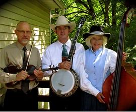 L-R: Ted Fenstermacher (fiddle), Mike Hertzog (banjo), Linda Hertzog (bass)