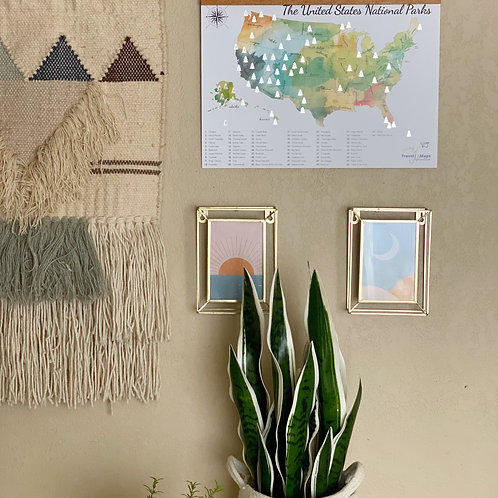 """Scratch Off Map of the U.S. National Parks Watercolor Poster 12""""x17"""""""