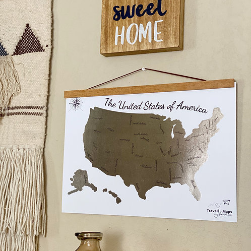 Scratch Off USA Map 12x17 Watercolor Poster