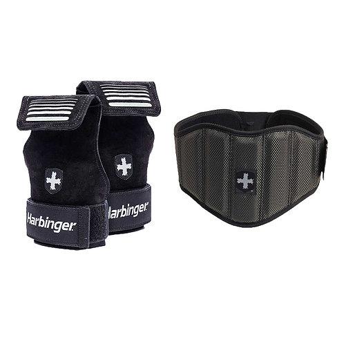 """Harbinger l 7.5"""" Firm Fit Contoured Belt + Harbinger   Lifting Grips"""