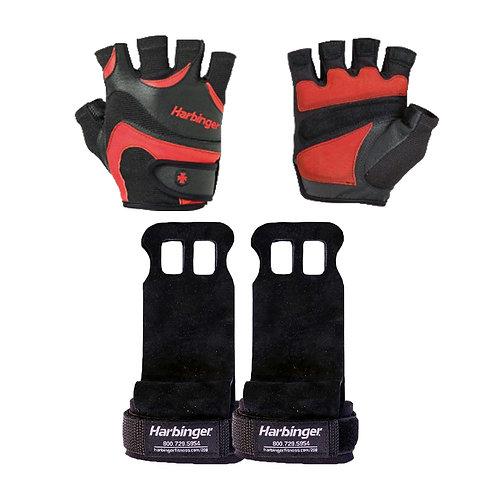 Harbinger | FlexFit Gloves - Black/ Red + Harbinger | Palm Grips