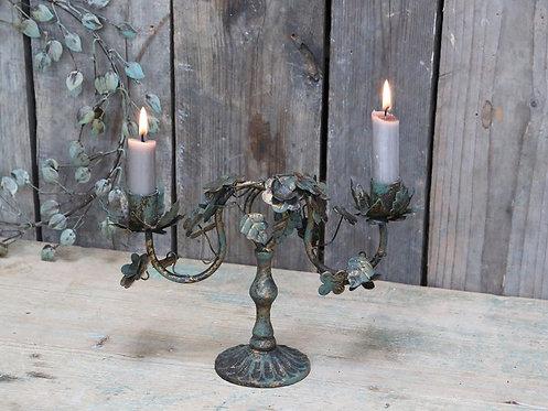 Bougeoir avec feuilles antique bronze